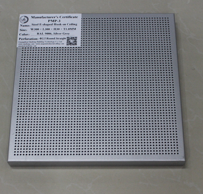 Perforated Suspended Commercial Metal Ceiling Tiles Sound Shield